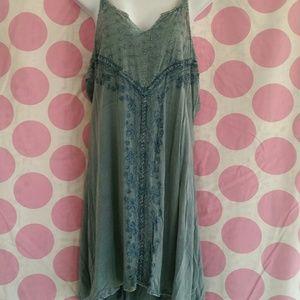 Vintage Blue Jean Embroidered Midi Dress